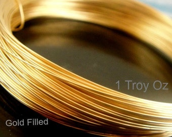 14k Gold Filled Wire, Round, 1 oz, Troy, 12,14,16,18,20,22,24,26,28,30 gauge ga g -Wholesale Wire LOW Price -Select your Size