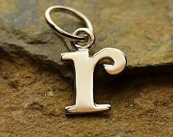 "Silver Letter ""r"" Charm, Typewriter Lowercase Alphabet Charm, 925 Sterling Silver, 1 PC, 16x8x1mm"