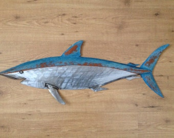 Shark Metal Fish Wall sculpture 36in  Beach Coastal Tropical