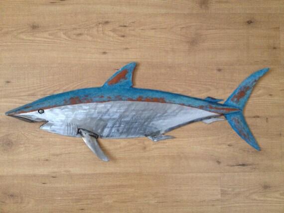 Shark Metal Fish Wall sculpture 36in  Beach Coastal Tropical
