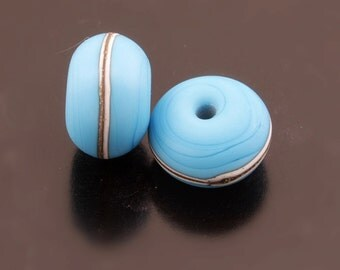 Southwest Handmade Lampwork Beads Turquoise Blue Bead Pair Silvered Ivory Etched Rondelle Heather Behrendt  SRA