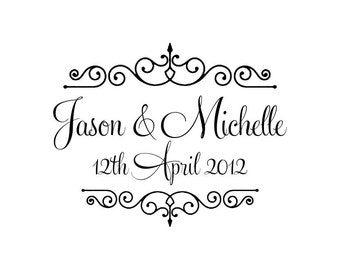 Personalized Custom Handle Mounted wedding rubber stamps W31