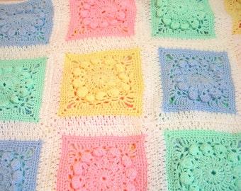 Vintage Crocheted Baby Blanket, Pastel Granny Squares Afghan
