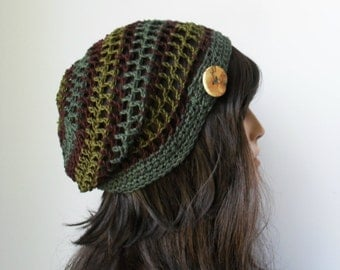Button tab Slouchy Mesh Hemp Tam Forest Inspired Brown and Green Eco Friendly Made to Order