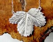 Silver Strawberry Leaf Bib Necklace