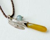 Long Leather Necklace with Turquoise and Orange Chalcedony - Boho Fashion
