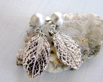 Sterling Silver Leaf Earring Studs