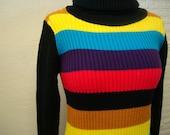 Turtleneck Sweater Vintage 1970s Multicolor Bright Acrylic