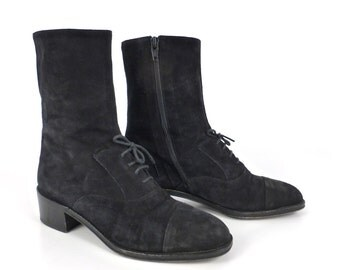 Suede Boots Black Leather Vintage 1990s Ankle Leather Women's size 7