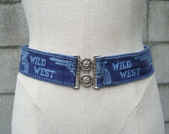 Wild West Belt Vintage 1970s Novelty Woven Blue