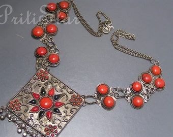 Vintage Boho Gypsy Tribal Necklace Coral Glass Silver Tone Statement LARGE Pendant Jewelry