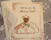 Will You Be My Flower Girl Card  Vintage Wedding