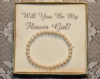 Will You Be My Flower Girl, Flower Girl Bracelet Gift,  Flower Girl Thank you, Flower Girl Pearl Bracelet, Will You Be My Flower Girl Card