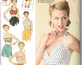 Bra Bathing Suit Tops Retro Vintage 1950s Style Sewing Pattern Simplicity 1426 Size 4 6 8 10 12 Bust 29.5 30.5 31.5 32.5 34