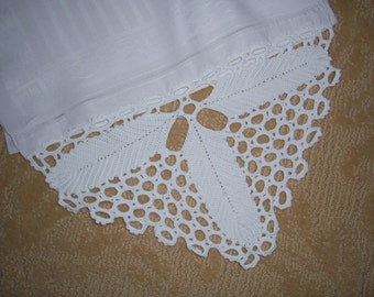 Antique Linen Damask Guest Towel with Hand Crochet