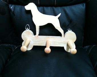 Wooden Labrador leash hanger