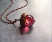 Glass Acorn Necklace in Raspberry Peach by Bullseyebeads