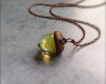 Glass Acorn Necklace in Yellow Green Swirl with Metal Leaf by Bullseyebeads