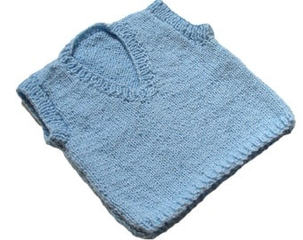Blue Vest Baby Boy Clothing Hand Knit
