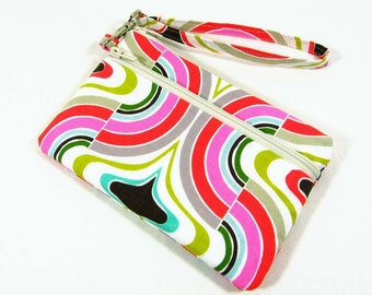 Swirl print large id wristlet - id holder, coin purse, cell phone holder, credit card pouch