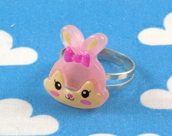 Kawaii Bunny Rabbit Ring - Pink