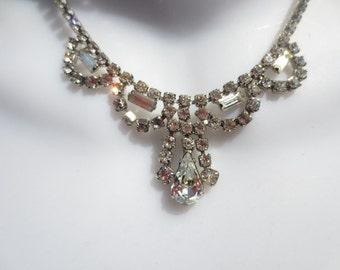 Vintage Rhinestone Necklace Clear Silver