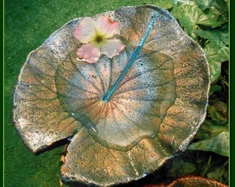 BIRDBATH / Birdfeeder / Concrete casting / Leaf Sculpture (stands over shrubs) from Australian Water Lily-RESERVED for Dave (#1824B)