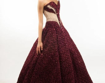 WAS Maroon  Plum Sequin Gown Size Small WAS1400