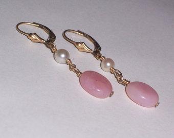 Handmade Pink Opal and Freshwater Pearl Earrings - Pierced
