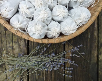 3 Organic Lavender Pouches - set of 3 - Botanical Sachets - Drawer Sachets - Moth-repellent herbal sachets