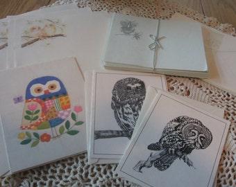 Vintage Ephemera Retro Owl Lot Notecards and Stationery