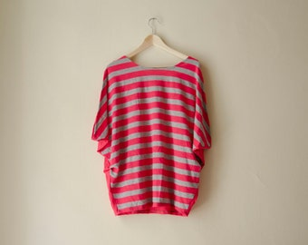 Oversized Blouse With Pink Grey Stripes, Draped Batwing Sleeves, Summer Top, Cotton Jersey Top