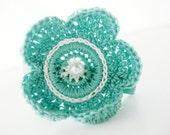 NEW... Aqua Crochet Flower Hair Clip - No Slip Grip.