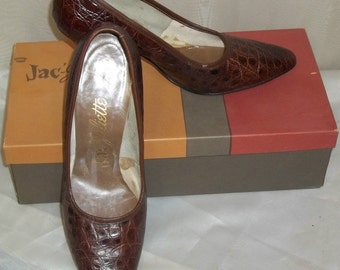 Vintage Jac-Juliette Crown Alligator Shoes Pumps 6 1/2M High Heels w/Box