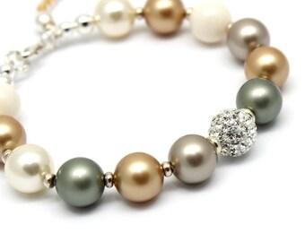Pearls Bracelet,Rhinestones Bead Jewelry,Swarovski Crystals Pearl,Gold Silver Tassel,Multicolor Bracelet,Green Gold Ivory Pearl Mix Colors