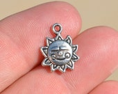"""10  Silver Sunshine """" Made with a Smile"""" Charms SC1005"""