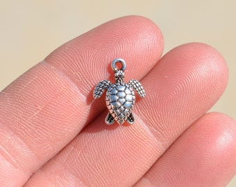 10 Silver Turtle Charms SC1052