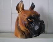On Sale STUNNING Inarco Large Boxer Dog Head Vase Figurine