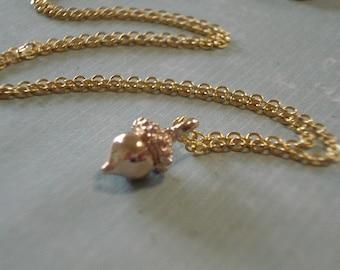Acorn Necklace Tiny Gold Acorn Pendant Acorn Jewerly Gold Acorn Necklace