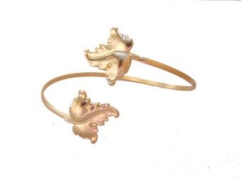 Leaf Bracelet, Upper Arm Cuff,Band Arm Cuff, Bridal Bracelet, Gold Vine Bracelet, Gold Bangle Bracelet,Greek Goddess