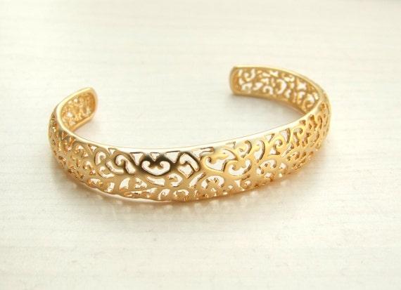 Arm Cuff, Bridal Bracelet ,Gold Cuff Bracelet,  Filigree Bracelet, Gold  Filigree Bracelet, Band Cuff, Bridesmaisd Jewelry