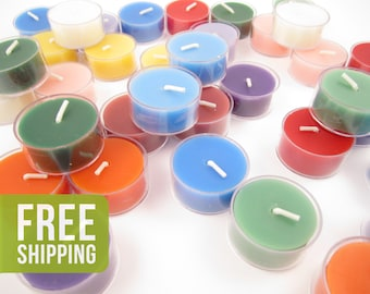 36 Beeswax Tea Light Candles in Assorted Colors - Plastic Cups - Free Shipping