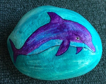 Dolphin painted rock paperweight