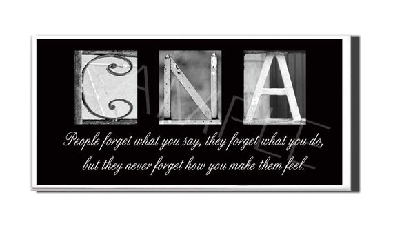 Cna Inspirational Plaque Black Amp White Letter Art