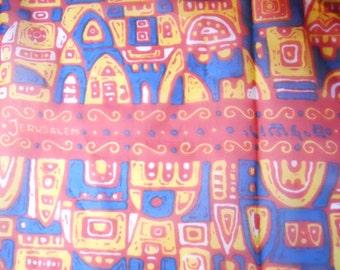 JERUSALEM SOUVENIR SCARF travel trinket, artistic, stylized, rayon blend scarf, travel memory
