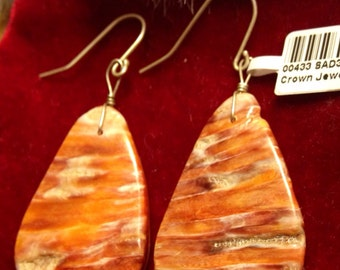 SALE spiny oyster shell and sterling silver earrings