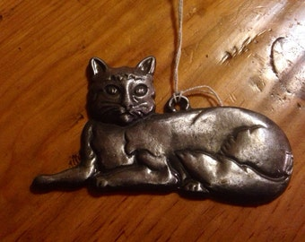 Cat love or cat healing or missing cat milagro Tin Silver Ex Voto