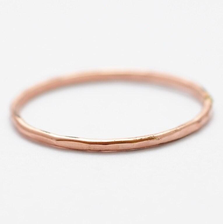 rose gold ring hammered 14k gold filled band cheap stocking. Black Bedroom Furniture Sets. Home Design Ideas