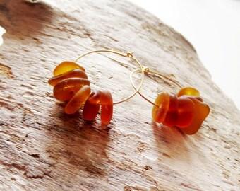 Beach glass hoops.  Sea glass earrings.  Gold hoops.  Amber beach glass jewelry. Brown sea glass.