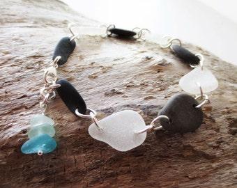 Beach stone bracelet.  Beach glass bracelet.  Sea glass jewelry.  Black white bracelet.  Lake Michigan jewelry.  Beach jewelry.